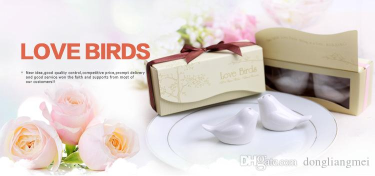 new Love Birds In The Window Ceramic Salt & Pepper Shakers Wedding Favor For Party Gift with retail gift box H076