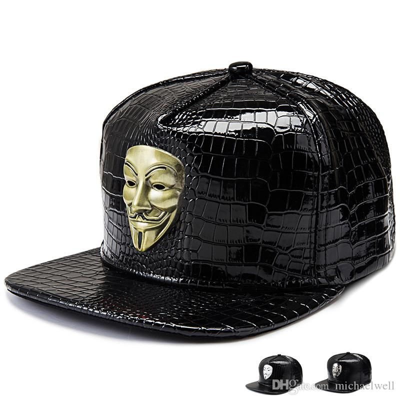 2016 Golden PU Leather Hip Hop Hats Diamond Crocodile Grain Snapback V For  Vendetta Baseball Caps Men Women Fawkes Fancy Mask Gift Cap Hat From  Michaelwell 3a80f045230