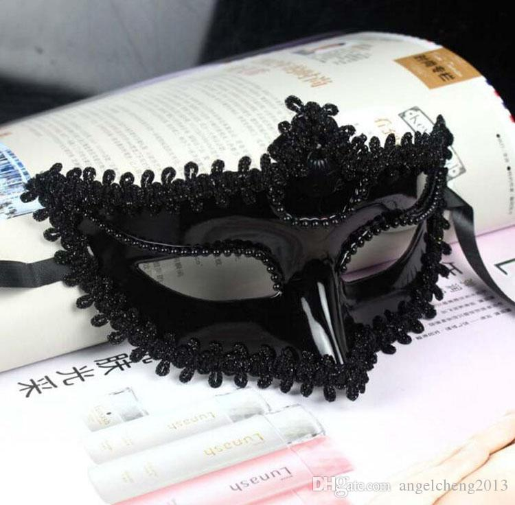 Womens Sexy Charm Mask Lace Edge Venetian half Mask Party Masquerade Halloween Eye Mask Fancy Dress Costume Mask White And Black