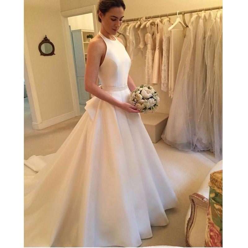 compre 2018 nueva elegante una línea de vestidos de novia sin