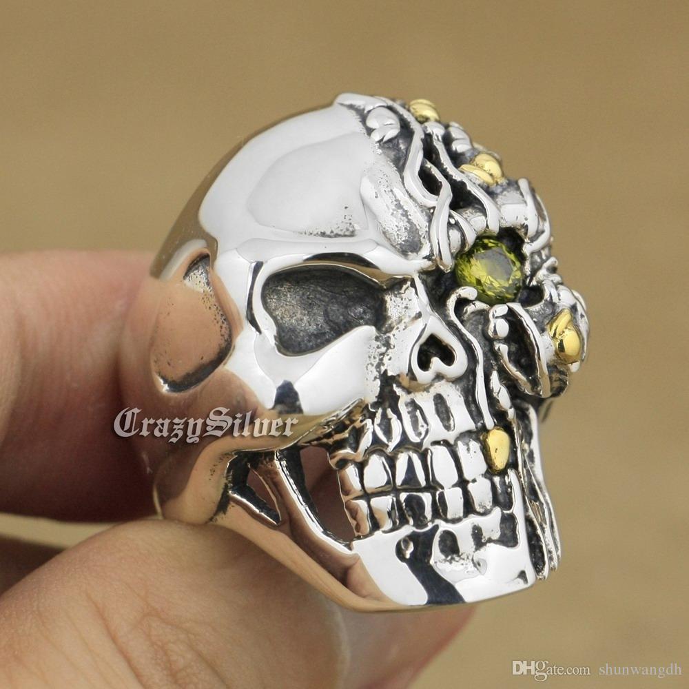 Black Olive Eye 925 Sterling Silver Skull Mens Biker Rocker Punk Ring 8V206 US Size 7 ~ 15