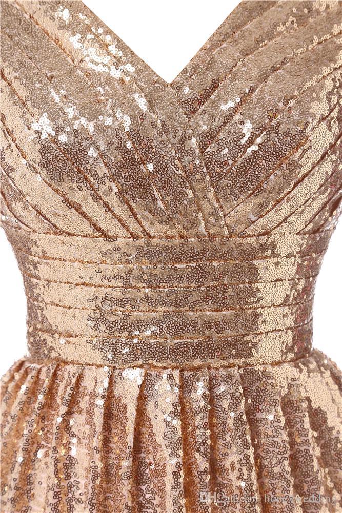 Золотые Блестки Короткие Платья Невесты 2019 V Шеи Рюшами До Колен Bling Официальное Повод Платье Дешевые Свадебные Платья Подружек Невесты