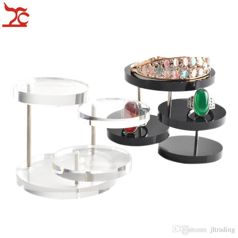 Brand New 3 strati trasparente nero rotondo acrilico gioielli Display Stand Button Collana orecchino anello Organizzatore Titolare Show Rack Shelf