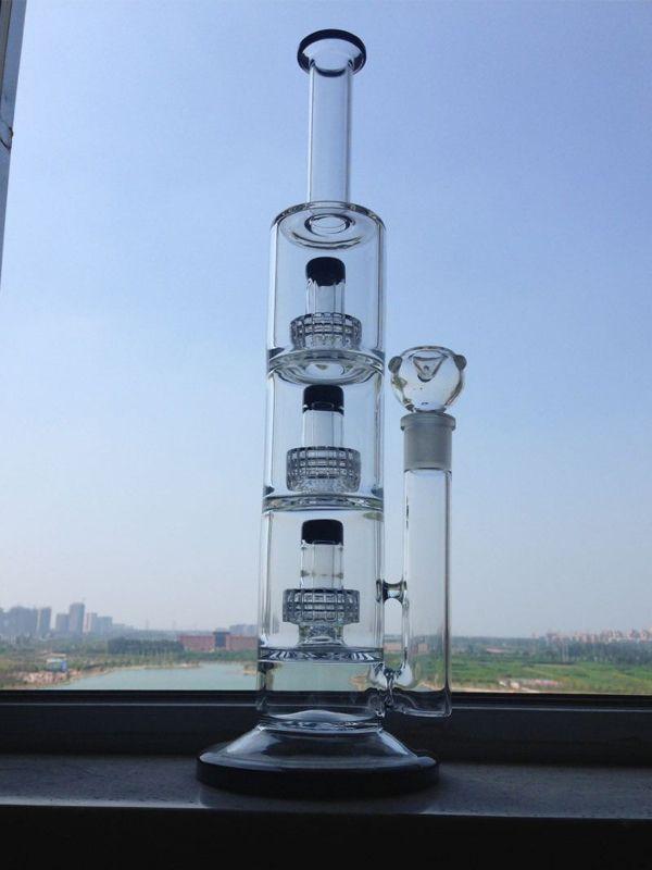 Большой Бонг стеклянные водопроводные трубы тройной Матрица Perc толстый ресайклер барботер нефтяные вышки 14