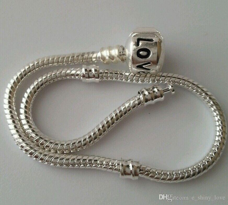 Wholesale in Bulk Low Price Copper Silver Plate Clip Stamped Love Snake Chain Bracelets Fit European Charms Beads 16cm to 23cm