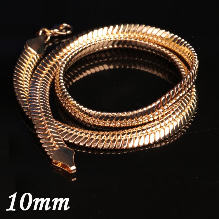 Popular 10MM Charm Flat Snake Chunky Necklaces Dubai 18K Gold Jewelry Mens Gold Chain Necklaces Perfect Gift