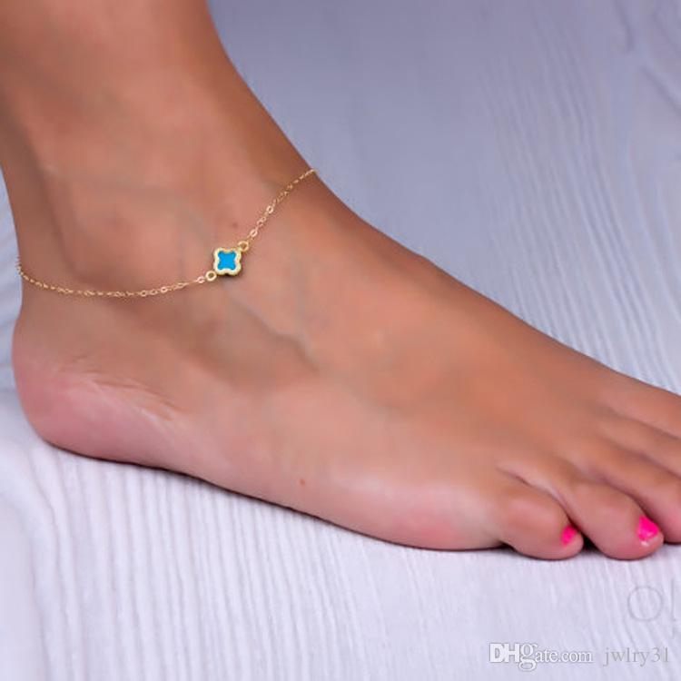 Venta al por mayor venta caliente mujeres trébol joyería clásica del pie del tobillo del oro pulsera de cadena europa minimalista pulseras diseños pulseras Freeshiping