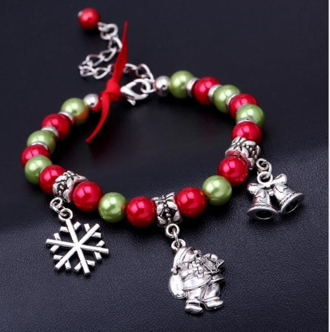 سحر أساور الأوروبي الأمريكية خمر الخرزة أساور الشعبية سانتا بيل سبيكة ندفة الثلج قلادة الخرز أساور أفضل هدايا عيد الميلاد