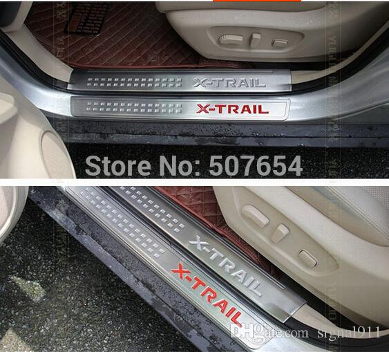 High quality stainess steel 4unit external car door sills scuff footplate,threshold decoration protection plate for Nissan X-trail 2014-2016