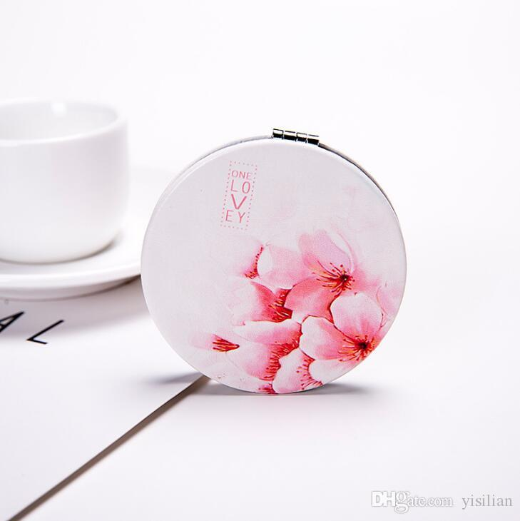 Leather creative portable make-up mini-portable folding mirror double-sided mirror HM006 as your needs