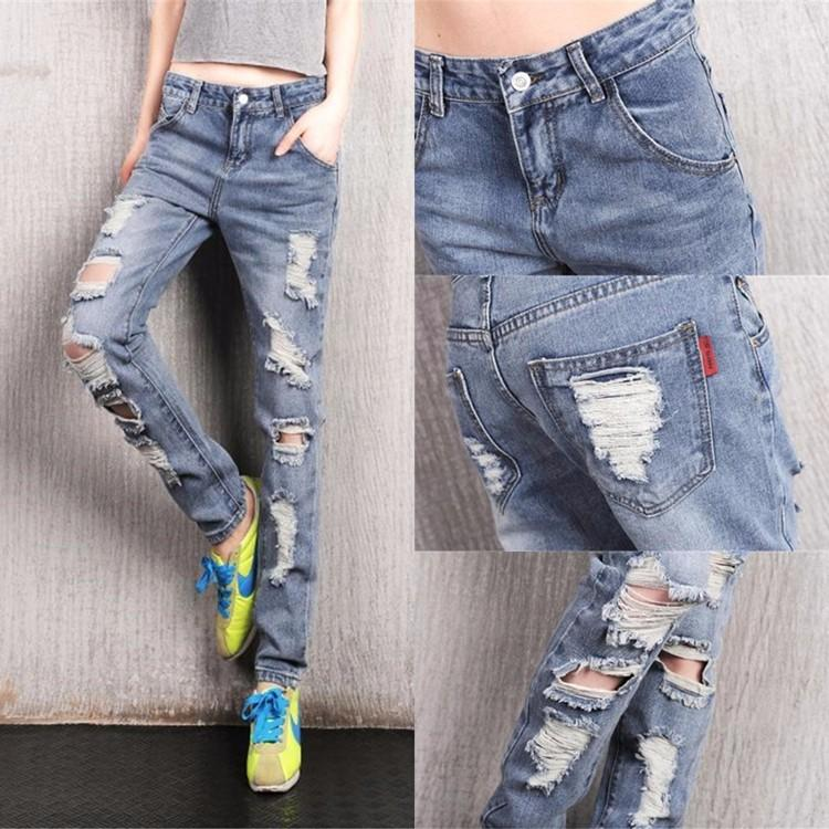 Boyfriend Ripped True Denim Jeans Pantaloni Strappati Women Plus Size Distressed Pants Casual Dstoryed Trousers Big Hole 4XL 6Xl W22