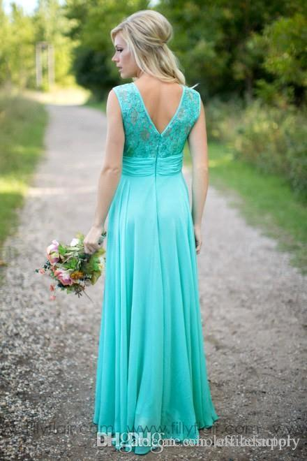 Turquoise Long Country Bridesmaid Dresses Scoop Neckline Chiffon Floor Length Lace V Backless Long Maid Of Honor Bridesmaid Dresses