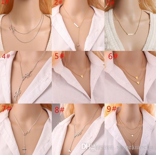 Klassische Halskette mit Anhänger Blatt, Kreuz edel und zart, kein Verblassen, hohe Qualität und kostenloser Versand