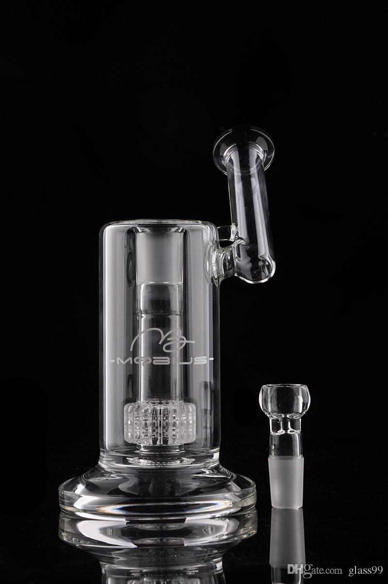 Gerçek Resim Mobius Matrix yan cam bong birdcage yüzde cam Bongs 18 mm eklem ile kalın cam boru sigara borular