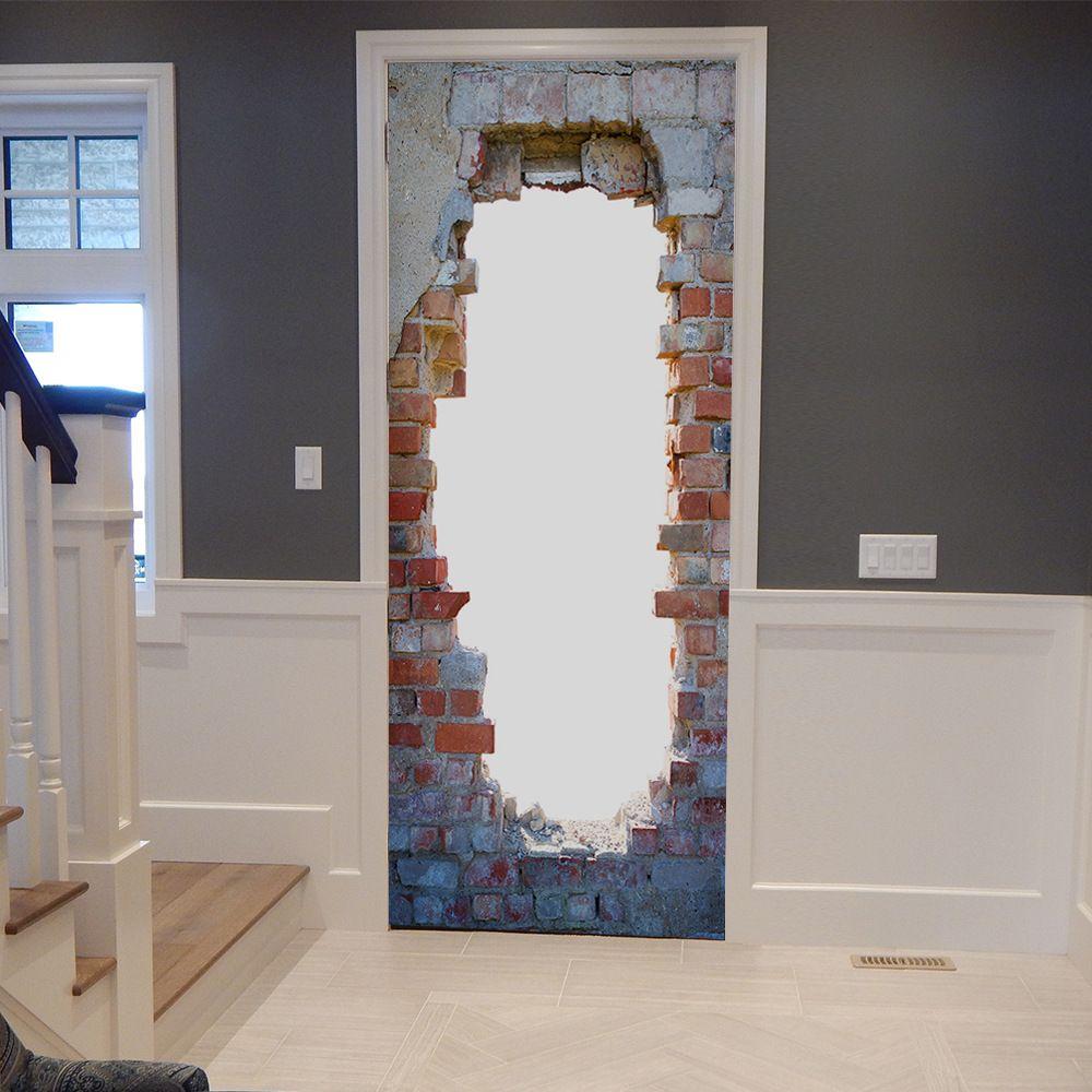 Vintage Tür großhandel wholsale diy 3d vintage brick tür wandbild tapete pvc