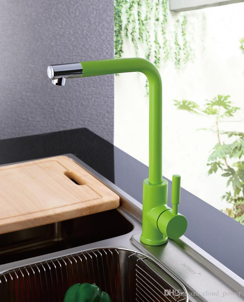 Kitchen Sink Faucet with Black, Green , Orange and Blue, Hot and Cold Brass Kitchen Basin / Mixer/ Taps