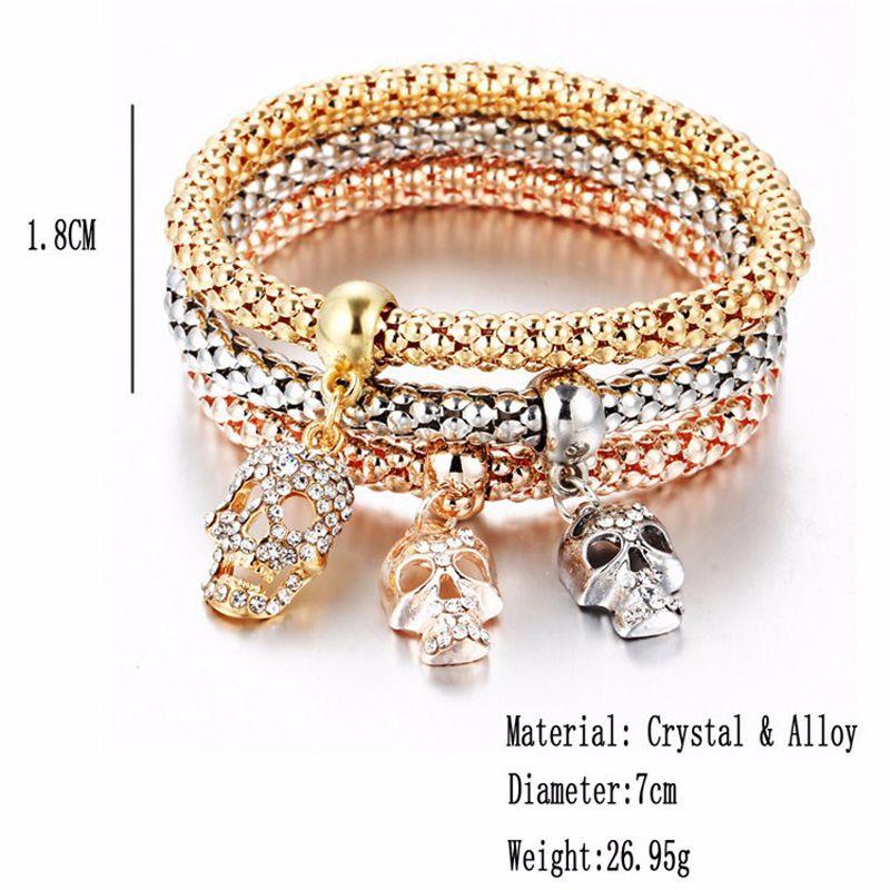 European Bracelet Crystal Skull Circular Pendant Bracelet Gold Rose Gold Silver for Women Stretch Popcorn Bracelets Wholesale