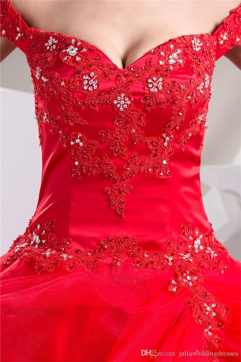 2017 Sexy Sweetheart Red Crystal Ball vestido de quinceañera Vestidos con apliques Tulle Plus Size Sweet 16 Vestido Vestido Debutante Vestidos BQ7-2