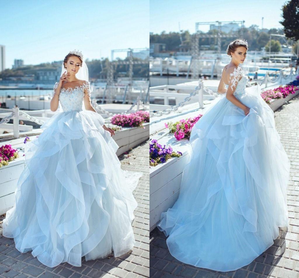 Light Sky Blue Ball Gown Wedding Dresses Illusion Jewel