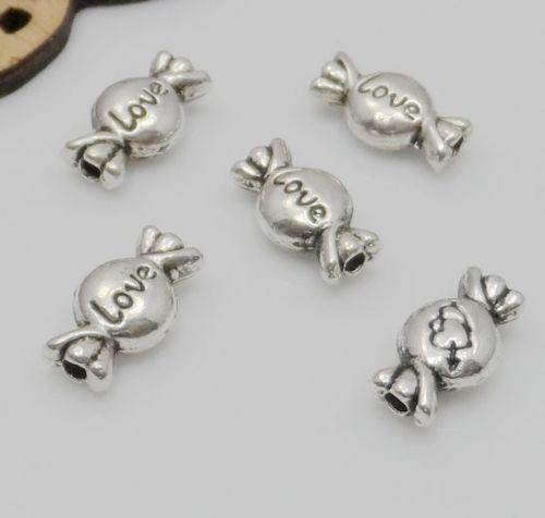Tibetano Prata Amor Doces Spacer Beads Para Fazer Jóias 11.5x6mm