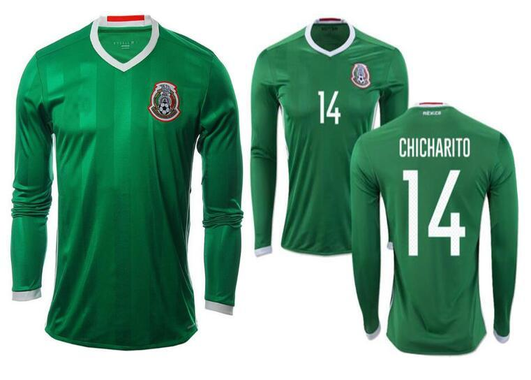 9dd5df56d 2019 DHL Shipping 2016 Mexico Home Green Soccer Jersey Thai Quality 2016  2017 Mexico Long Sleeve Shirts G DOS SANTOS CHICHARITO Football Jersey From  ...