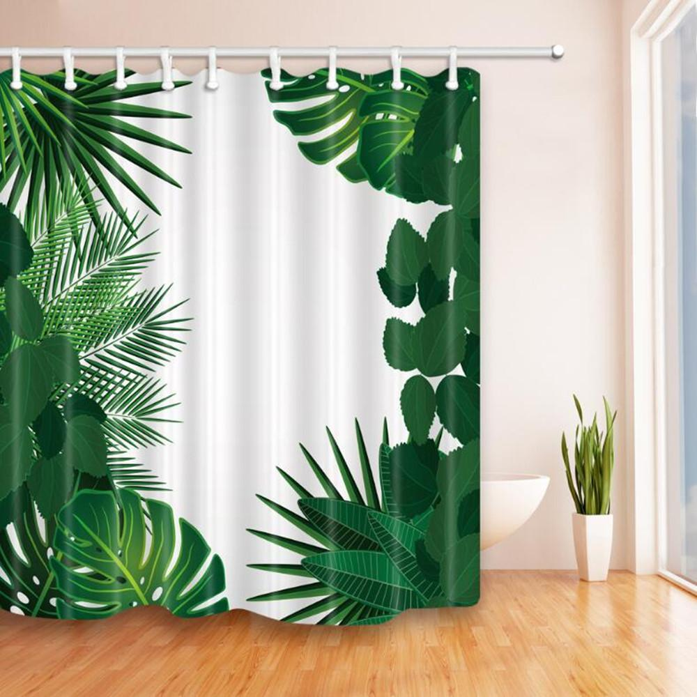 2018 New Green Leaves Shower Curtains 180*180cm Waterproof Polyester ...
