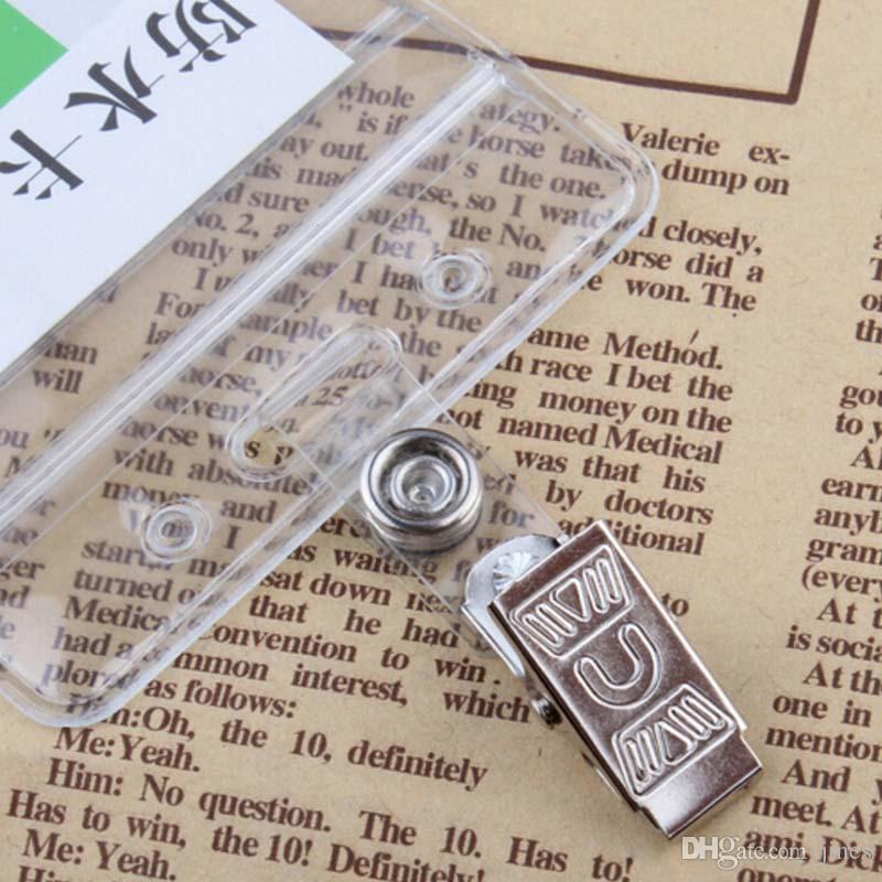 Nuevo 50 Unids / lote Venta al por mayor Envío gratis Metal ID Titular de la Tarjeta Badge Clip con Correas Transparentes Nueva moda Material de Envío Gratis Escolar