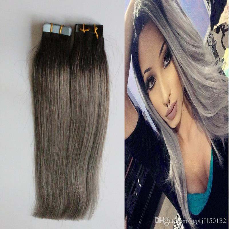 7a grey tape hair 100g ombre human hair ombre tape in human hair 7a grey tape hair 100g ombre human hair ombre tape in human hair extensions 1bsilver grey tape extension two tone wefted hair racoon hair extensions from pmusecretfo Gallery