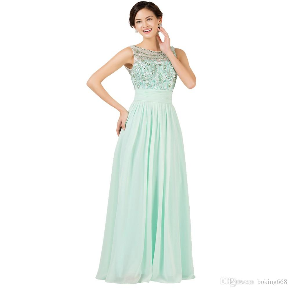 0b77af4ac32 New Light Green Sexy Lace Long Elegant Prom Dresses 2018 Evening Dress  Beaded Chiffon Party Dress Fast Shipping Short Plus Size Prom Dresses Short  Poofy ...