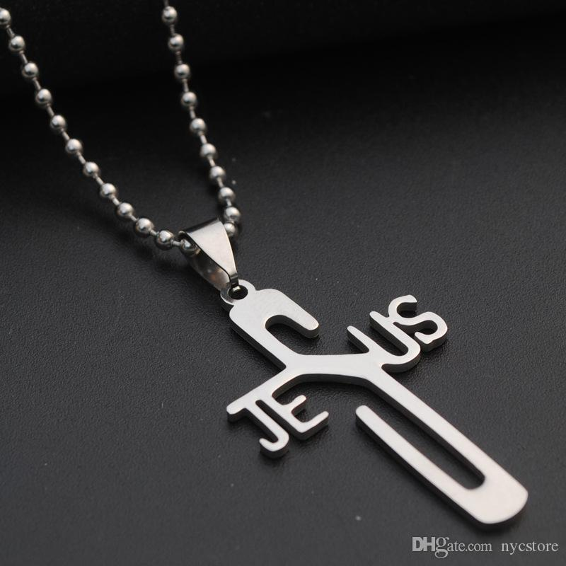 Mode Jesus Kreuz Anhänger 316L Edelstahl Halskette Anhänger Charme Frauen Männer Schmuck