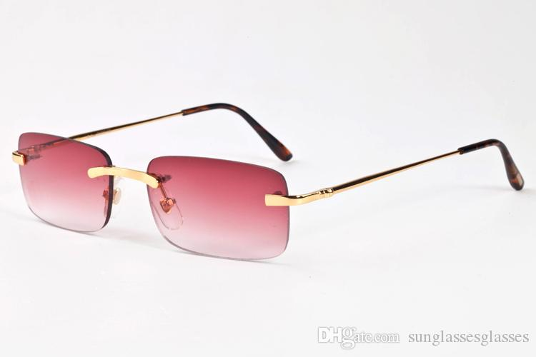 2018 driving brand buffalo horn sunglasses for men women big oversize retro pink blue clear lens multiple rimless sunglasses with box