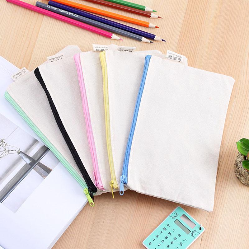 Eco-Friendly 20.5 * 8cm DIY бежевый холст пустой равнине молния карандаш Pen Сумки Канцелярские Случаи Организатор сцепления сумка подарков чехол для хранения