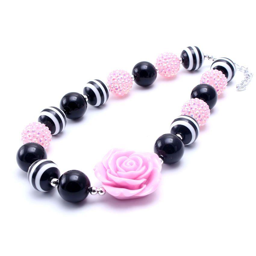 MSH.SUN Kid Bubblegum Bead Halskette Rosa Blume Baby Kind Chunky Halskette Choker Halskette Modeschmuck Kinder Mädchen