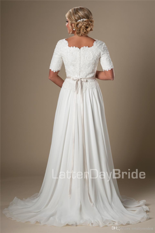 빈티지 레이스 쉬폰 아이보리 긴 겸손한 웨딩 드레스 반 소매 라인 사원 신부 가운 리셉션 신부 드레스 사용자 정의 만든