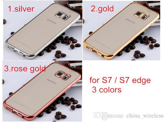 For Samsung S7 S7 edge Clear Crystal Rubber Plating Electroplating TPU Soft Back Case Cover For LG K4 K7 K10 V10 G5