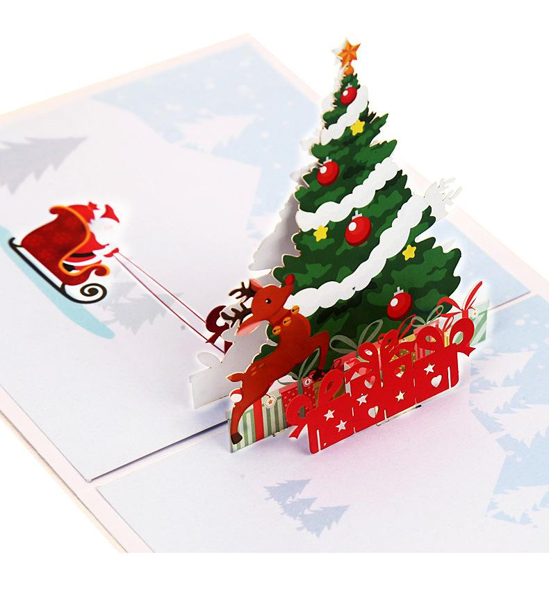 Creative 3D Christmas Greeting Card DIY Christmas Tree Fawn Deer ...