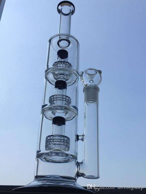"""Big Bong Glass Water Pipes Triple Matrix Perc Thick Recycler Bubbler Oil Rigs 14"""" inch Dab Rig Black Lip Base Wrapped Beaker Hookahs"""
