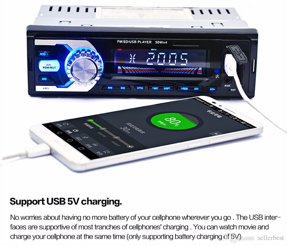 Автомобильный радиоприемник авто аудио стерео FM SD WMA WAV MP3-плеер AUX вход Bluetooth приемник USB Handsfree вызов для автомобиля дистанционного управления