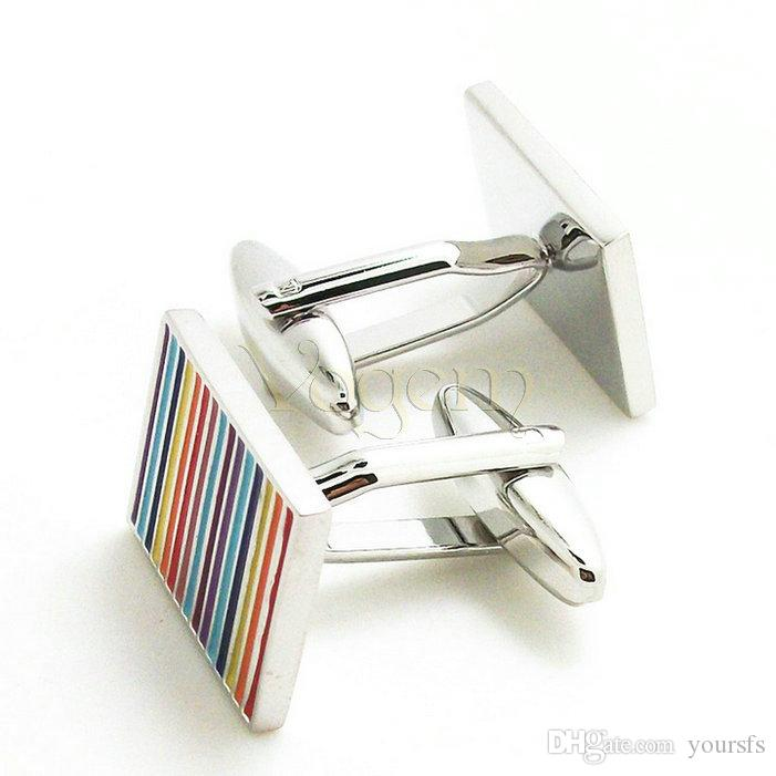 Vogem Yeni Tasarım Upmarket Renkli Çizgili Kare Gömlek Kol Düğmeleri Yüksek Kalite Paslanmaz Çelik Kaplama ve Pirinç Gümüş Kol Düğmeleri Düğün