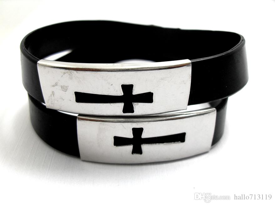 CROSS Stainless Steel Black Silicone Bracelets Jesus wristbands Men Women cuff Bangle Wholesale Fashion Religious Jewelry