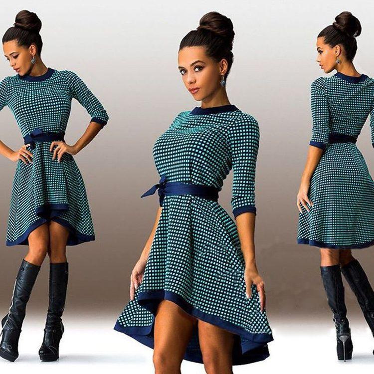 Abiti da ballo Irregular Dress Europa e America Fashion Big Bottomed maniche manica stampa maniche a maniche 8104