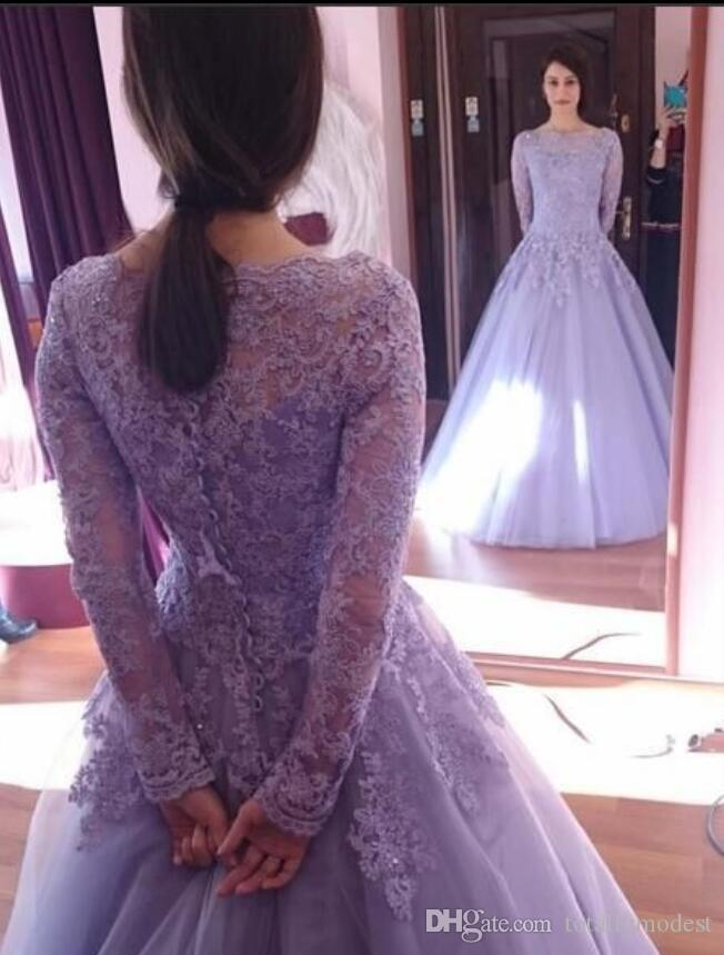 Long Sleeves Lilac Ball Gown Modest Prom Dresses Sleeves Beaded Lace Appliques Formal Evening Party Gowns Corset Seniors Prom Gowns Cheap