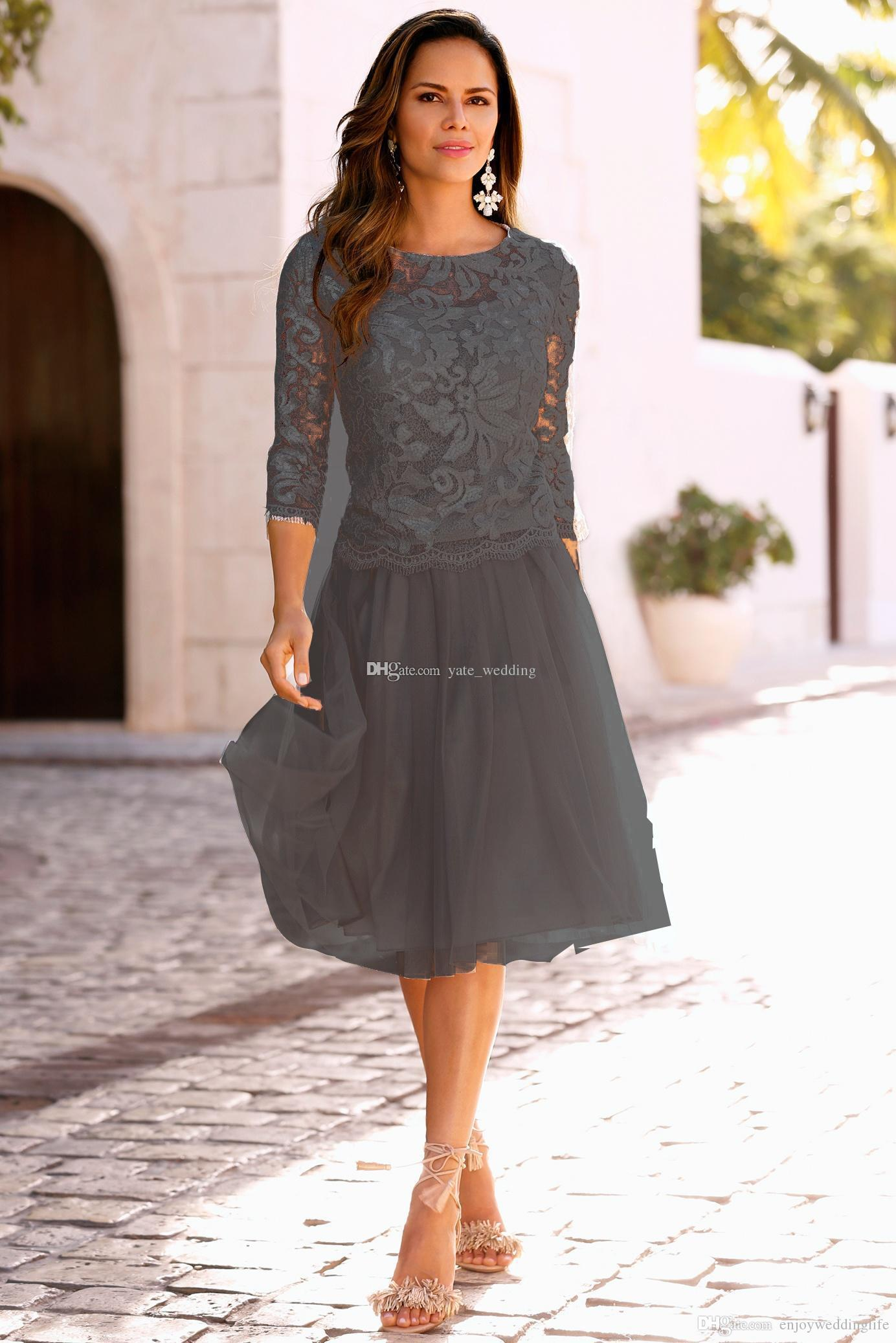 2017 Newest Mother Of The Bride Dresses With 3/4 Long Sleeves Lace Tulle Knee Length Mother Bride Dresses