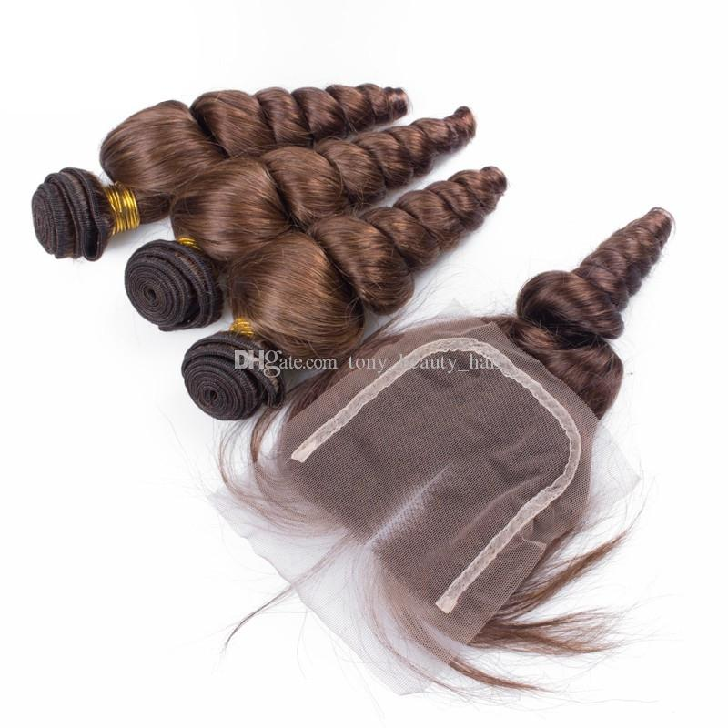 Peruanisches Menschenhaar-Spitze-Schließung mit Haar-Stück-Farbe # 4 lösen Wellen-lockiges Haar-Schlag mit freien mittleren 3 Teil-Spitzenverschlüssen