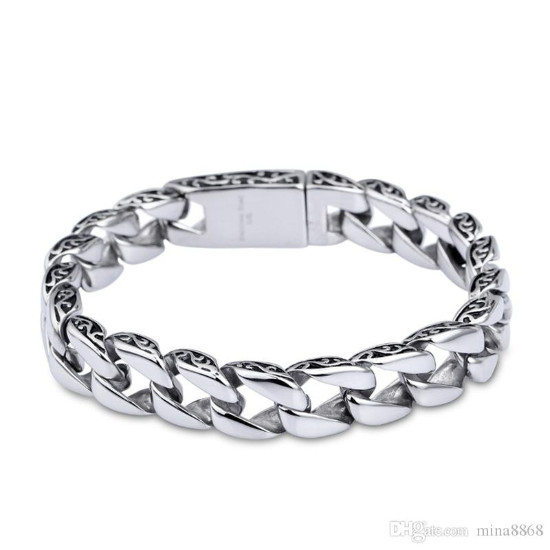 Fashion New Link Chain Stainless Steel Bracelet Men Heavy 11cm Wide 21 22cm length Mens Bracelets Bicycle Chain Wristband