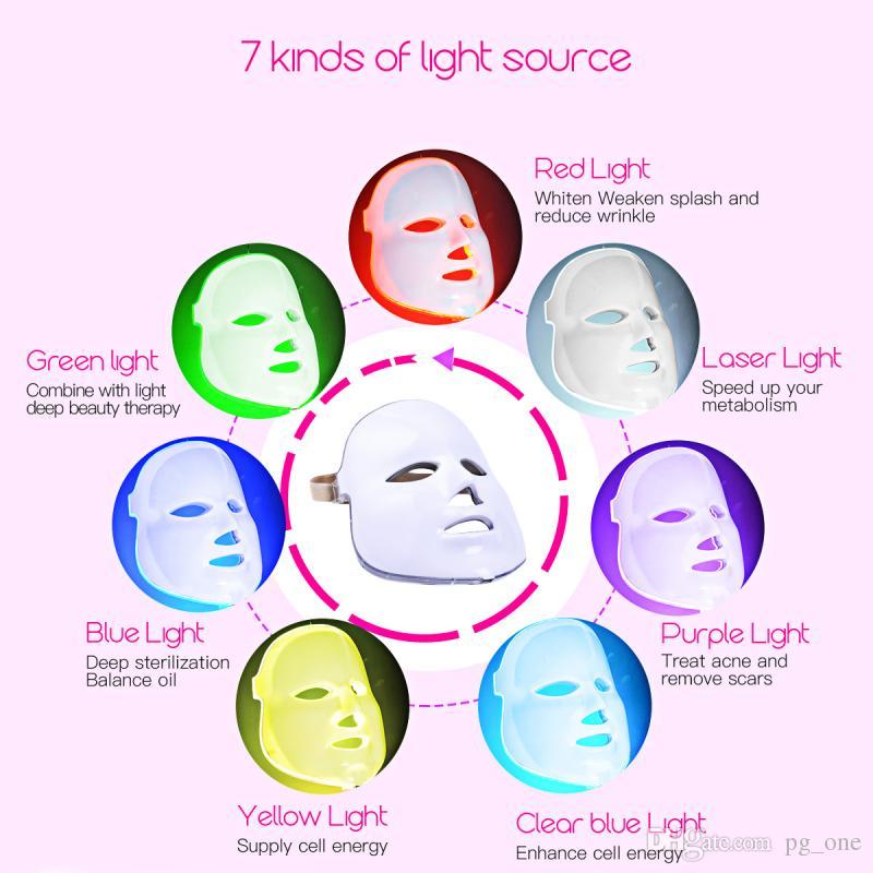 LED masque facial 7 couleurs PDT photon visage rajeunissement de la peau retrait des rides électrique masque anti-vieillissement thérapie SPA beauté machine