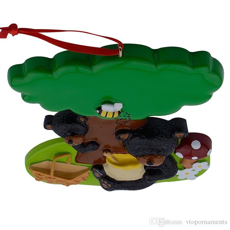Résine brillante jouant Black Bears personnalisé ornements de Noël utilisés pour les cadeaux de souvenir de vacances et décor à la maison
