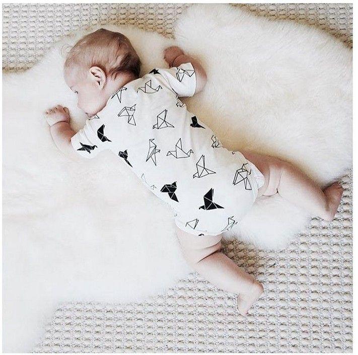 2016 유아용 베이비 페이퍼 크레인 인쇄 된 Rompers 유아 소년 소녀 여름 짧은 소매 Jumpsuituits 신생아 White Onesies Climbing Clothing