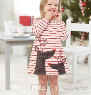 INS Girls Xmas Dresses Xmas Princess Dresses Stripe Long Sleeve Baby Skirt Christmas Party Cosplay Costume Santa Claus Elk Printing DH153