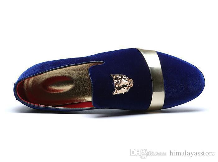 Trendy britannique Hommes velours pointu rouge bleu Homecoming robe de soirée chaussures de mariage oxford appartements mocassins mocassins mâles